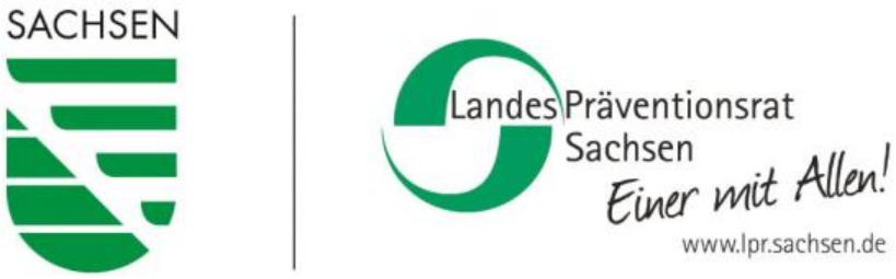 Logo Freistaat Sachsen und Landespräventionsrat Sachsen
